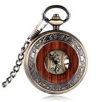 懐中時計ネックレス  機械式  木製  スケルトン  ローマ数字  レトロ  ユニセックス  EI19