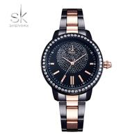 Shengke 時計 レディース クォーツ時計 ゴージャス  ブラック/シルバー  EC04