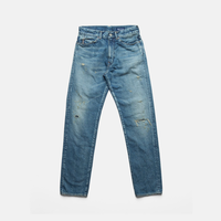 C.T.L SLIM STRAIGHT DENIM PANTS-BENGARA(INDIAN RED) / PATCH INDIGO