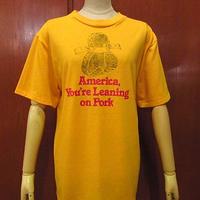 ビンテージ70's●America. You're Leaning on PorkプリントTシャツ黄size M(38-40)●201024f4-m-tsh-ot古着半袖シャツUSA製