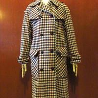 ビンテージ70's●SMUGレディースチェックウールトレンチコート●201110s7-w-ct古着女性用ジャケット上着ダブルブレストウエスタンヨーク