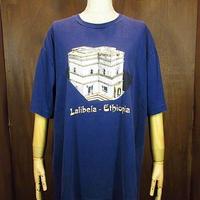Ethiopian Reflection  ラリベラ世界遺産プリントTシャツ紺 Size XL●200704n2-m-tsh-ot エチオピアアートプリント古着