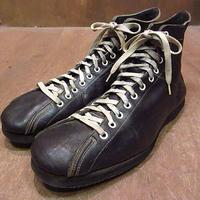 ビンテージ40's●レザーボウリングシューズ黒8●201105n2-m-oshs-26cm 1940sボーリングブーツ革ブラック
