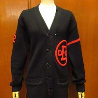 ビンテージ40's●Rugby Knitting Millsウールレターマンカーディガン黒●201207f5-m-cdg古着ニットセーターレタードカーディガンブラック