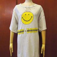 ビンテージ90's●SOUTH OF THE BORDERスマイリーフェイスプリントTシャツ霜降りグレーsize XL●201101s5-m-tsh-otスマイル古着USA製