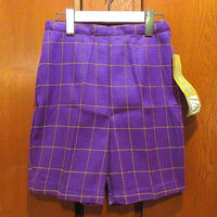 ビンテージ70's●DEADSTOCK PADDLE & SADDLEレディースチェックショーツ紫×黄色size 19●210516s6-w-sht-W24ショートパンツ古着