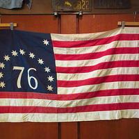 ビンテージ70's●ベニントンフラッグ 約81cm×約143cm●200916s8-otclct 1970sアメリカ星条旗13スター76独立USA国旗