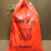 ビンテージ~70's●GRAND BLANCハイスクール巾着バッグ 赤×黒●200916n8-bag-ot スイミングバッグカバンボブキャッツ