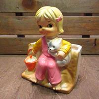 ビンテージ50's●INARCO少女×犬セラミックプランター●200629n8-obj 1950s陶器植木鉢置物オブジェ