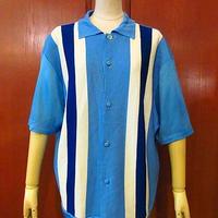 ビンテージ60's70's●Enrico Felini ライン入り半袖シャツ水色 Size L●200616f4-m-sssh-ot メンズトップス古着襟付きカーディガンストライプ