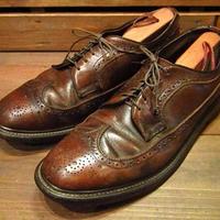 ビンテージ60's70's●レザーウイングチップシューズ茶8 1/2D●210330n11-m-dshs-28cm 1960s1970s革靴ドレスシューズ