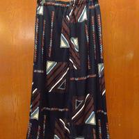 ビンテージ70's●幾何学柄ニットロングスカート黒●210609s7-w-skt-wf 1970sレディースレトロヒッピー