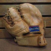 ビンテージ40's●SPALDING Trapper Modelレザーベースボールグローブ茶●210311n3-otclct野球ミットスポーツスポルディンググラブディスプレイ
