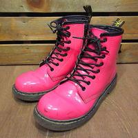 Dr.Martensサイドジップ8ホールエナメルブーツピンク●201106n8-w-bt-215cm古靴ドクターマーチンレディース女性用桃色