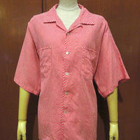 ビンテージ50's60's●Cranbrookギンガムチェックコットンループカラー半袖シャツ赤×白size XL●210612s4-m-sssh-lp 1950s1960s開襟