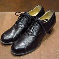 ビンテージ40's50's●レディースレザーシューズ黒 8C●210529n8-w-pmp-255cm ヒール革靴古靴