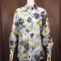 ビンテージ70's●レディース花柄シースルーシャツ●200615n2-w-lssh 1970s長袖ブラウスレトロヒッピーディスコ