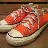 ビンテージ●USA製CONVERSEオールスターLow橙●210602s10-w-snk-225cm コンバーススニーカーレディース