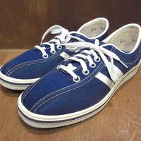 ビンテージ70's●DEADSTOCKレディース2本ラインキャンバススニーカー紺size 6 1/2●210423n8-w-snk-24cm 1970s古靴デッドストックUSA製