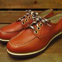 ビンテージ70's●DEAD STOCKモックトゥレザーシューズSize38●210421s12-w-dshs-25cm 1970sデッドストックレディース革靴ワーク
