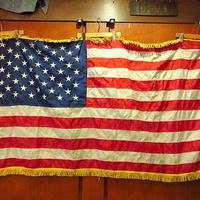 ビンテージ●フリンジ付き50星アメリカ星条旗 87cm×163cm●201023s7-fbr フラッグ国旗雑貨インテリアディスプレイ