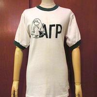 ビンテージ60's●SPORTSWEARフロッキープリントリンガーTシャツ白size M●200726s8-m-tsh-otホワイト古着トップスコットンUSA半袖