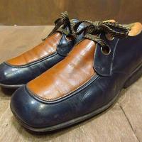 ビンテージ70's●FLORSHEIMツートンUチップシューズ茶×紺9E●210404n3-m-dshs-27cm 1970sフローシャイム革靴レトロ