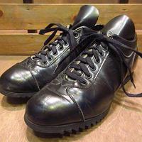 ビンテージ70's●シャークソールレザーシューズ黒●200719n4-m-oshs-27cm 1970sスポーツトレーニングシューズ靴スニーカー