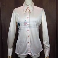 ビンテージ70's●nik-nikレディーススクールプリントシャツ13/14●200906n1-w-lssh 1970sMADE IN ITALYナイロンヒッピーポリシャツ