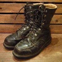 ビンテージ70's●レザーワークブーツ黒●210420n10-m-bt-26cm 1970sモックトゥ黒メンズ