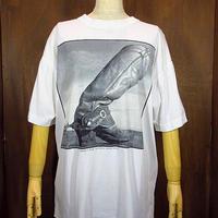 ビンテージ90's●ウエスタンブーツプリントTシャツ白●200627n1-m-tsh-ot 半袖コットンモノクロ古着