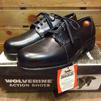 ビンテージ70's80's●DEADSTOCK WOLVERINEプレーントゥシューズ黒10E●200820n3-m-dshs-28cm 1970s1980sデッドストック革靴ポストマン