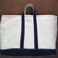 ビンテージ80's●L.L.Beanキャンバストートバッグ紺×白XL●210107n1-bag-tt 1980sエルエルビーントート