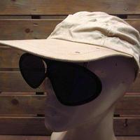 ビンテージ40's50's●サングラス付きコットンワークキャップベージュB●200615n4-m-cp-wk 1940s1950sメンズ帽子