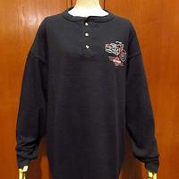ビンテージ90's●DEADSTOCK HARLEY DAVIDSONヘンリーネック長袖Tシャツ黒size XL●210215f2-m-lstsh古着ハーレーダビッドソンバイカー