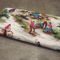 ビンテージ50's●DEADSTOCK Markwood Fabrics.ウエスタンチャックワゴンシーン総柄バーククロスファブリック●201219s7-fbrカウボーイ