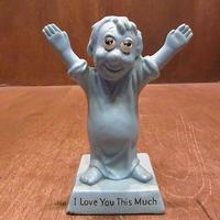 ビンテージ70's●カラーメッセージドール「I Love You This Much」水色●210119n5-doll 1970sプレゼント恋人アメリカン雑貨