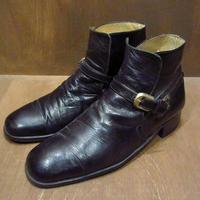 ビンテージ70's●botticelli レザーストラップシューズ黒 約26.5cm●210508n3-m-bt-265cm 1970年代メンズブーツ革靴