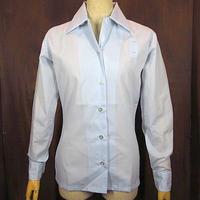 ビンテージ70's●DEADSTOCK Conquerorレディースループカラーサービスシャツ水色●201009n5-w-lssh古着オープンカラーシャツ長袖シャツ