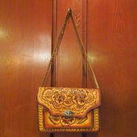 ビンテージ60's70's●フラワー型押しレザーワンショルダーバッグ茶●200711s6-bag-shdブラウン鞄カバンUSA花ヒッピーかばん