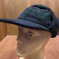 ビンテージ80's90's●Eddie Bauer耳当て付きチェックウールキャップL●201025n3-m-cp-ot 1980s1990sエディバウアー帽子