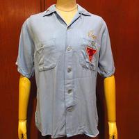 ビンテージ50's●King Louie刺繍入りレーヨンボウリングシャツ水色size S●210517f7-m-sssh-bw古着U.S.MAILループカラーシャツ開襟シャツ