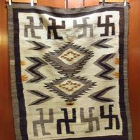 ビンテージ20's30's●ナバホスワスティカラグ 約142cm×約119cm●210331s8-rug 1920s1930sインディアンネイティブアメリカン卍