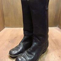 ビンテージ70's80's●レディーススクエアトゥロングブーツ黒8 1/2 D●210112n8-w-bt-265cm 1970s1980sレザーレトロヒッピー靴