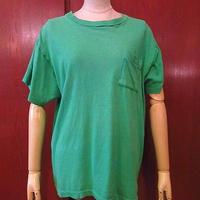 ビンテージ70's●FRUIT OF THE LOOMコットンポケットTシャツ緑sizeL●200813s2-m-tsh-pl古着ポケt半袖シャツメンズusa製