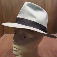 ビンテージ40's●Lucien de Brabant et Frereフェドラハットグレー●201112n8-m-ht-flt 1940sフェルトハットソフト帽フランス