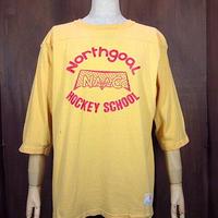 ビンテージ70's●Champion バータグ 3段プリントフットボールシャツ黄 Size M●200923n3-m-ostsh 七分袖Tシャツチャンピオン古着
