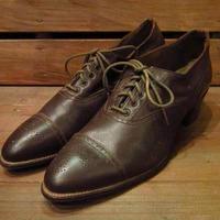 ビンテージ30's●レディースキャップトゥドレスシューズ●210427n15-w-dshs-24cm 1930s革靴アンティーク茶