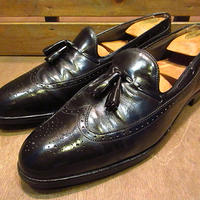 ビンテージ70's80's●Wrightウイングチップタッセルローファー黒11 1/2 A●200702n2-m-lf-29cm 1970s1980sライト革靴メンズ