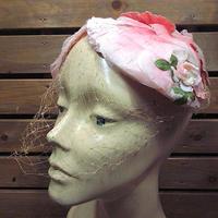 ビンテージ40's50's●レディースヴェール付きフラワーヘッドドレス●200710n5-w-hd花女性用古着帽子USA雑貨キャップ